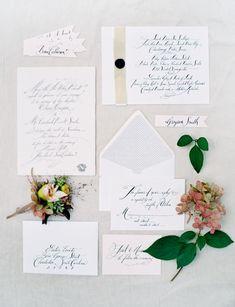 Elegant Outdoor Wedding Calligraphy Invites