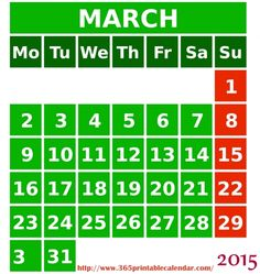 Monthly Calendar  March  Printable Calendar  Recipes To