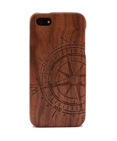 Compass Engraved Walnut iPhone 5/5s Wood Case