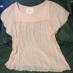 Anthro Maeve pink Swiss dot blouse Scalloped flutter sleeves. Baby doll style. Only worn once. Anthropologie Tops Blouses