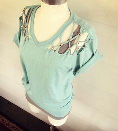 DIY tee shirt no sew lattice stud t-shirt