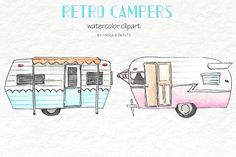 Watercolor Clip Art - Campers by Maria B. Paints on @creativemarket
