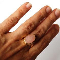 Pink Rose Quartz Ring. $75.00, via Etsy.
