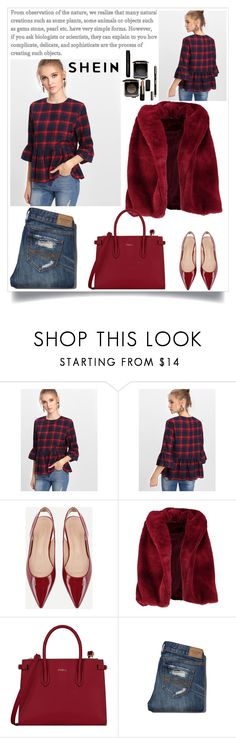 """""""Trumpet Sleeve Checked Smock Top"""" by manuel-s ❤ liked on Polyvore featuring Boohoo, Furla and Abercrombie & Fitch"""