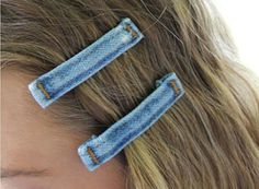 Denim Hair Barrets Made with Repurposed Jeans