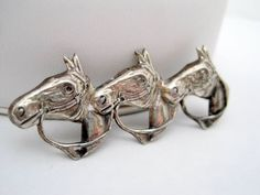 Sterling Silver Horse Pin - 3 Horse Heads - Sterling Signed -  Brooch