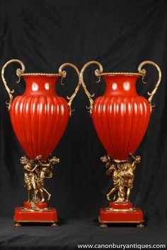 Photo of Pair French Empire Porcelain Cherub Amphora Urns Vases