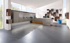 cuisine | Cuisine design gris beige en céramique. Cuisine avec îlot et espace ...