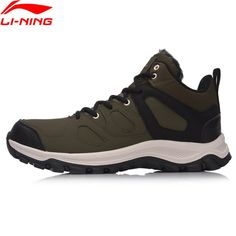 the latest 726b3 b2c59 Li-Ning 2017Q4 NEW Men Hiking Boots Hi Hiking Shoes WARM SHELL Classic  Walking Sneakers Comfort LiNing Sports Shoes AGCM189