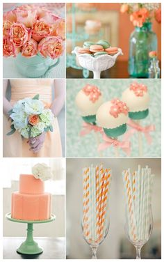 peach and mint wedding ideas | Mint  Peach -  For more amazing Ideasvisit us at http://www.brides-book.com and remember to join the VIB Club  for amazing offers from all our local vendors.