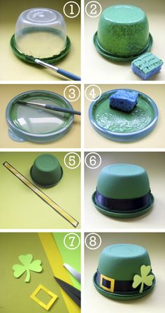 To continue our St. Patty's Day fun, here's a quick easy craft that can be used as a party favor, or decor, or a festive candy dish for your desk! You need: a.  Snack-size plastic bowls (think Glad...