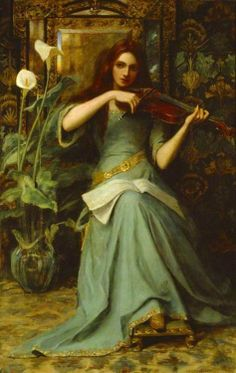 19th century Scotland woman with roses | Girl With A Violin - Henry Harewood Robinson, 19th century (1) From ...