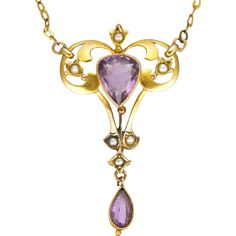 English Art Nouveau Gold Amethyst and Seed Pearl Necklace Old Jewelry, I Love Jewelry, Pendant Jewelry, Jewelry Crafts, Jewelry Art, Antique Jewelry, Jewelery, Vintage Jewelry, Fine Jewelry