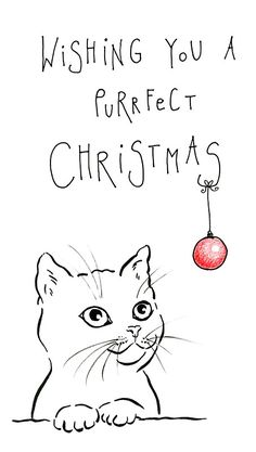 'Purrfect christmas minimalistic pen and ink drawing christmas card' Sticker by Karen Kaspar – Christmas DIY Holiday Cards Merry Christmas Drawing, Xmas Drawing, Watercolor Christmas Cards, Card Drawing, Christmas Cards To Make, Christmas Cats, Christmas Wishes Text, Christmas Present Drawing, Christmas Pictures To Draw