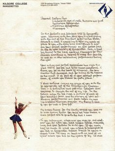 Letter from Miss Davis to the Rangerettes, 1976.