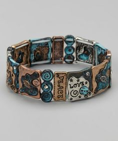 Look what I found on #zulily! Turquoise & Copper Spiral Stretch Bracelet by Mica #zulilyfinds
