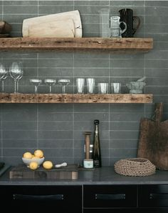 Love the Rustic wood shelves! Will use wood shelves on adjacent walk to echo wood grain tile on backsplash! Kitchen Tile, Kitchen Shelves, New Kitchen, Kitchen Dining, Kitchen Decor, Kitchen Soffit, Bar Shelves, Kitchen Walls, Kitchen Ideas