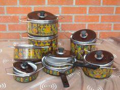 Marocchi Suzzara décor Maya 6 faitouts 2 sauteuses en tôle émaillée