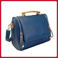 Ying Lan Modern Womens Cross Body Zip Satchel Handbags Leisure Shoulder Bags Blue