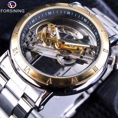 Forsining 2017 Retro Steampunk Design Transparent Skeleton Dial Golden Roman Number Bezel Mens Automatic Watch Top Brand Luxury