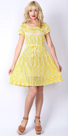 Vtg 70s Yellow White Crochet Knit Sheer Dress Cutout Boho Hippie Mini Scallop S Small