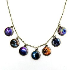 Goth Galaxy Choker - Rebel Style Shop - Add an out-of-this-world element to your goth outfit with this unique choker. Each pendant features a stunning image of a planet or the galaxy. Tree Necklace, Pendant Necklace, Owl Pendant, Rebel Fashion, Fashion Women, Gothic Chokers, Gothic Necklaces, Goth Accessories, Teen Jewelry