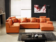 Tosh Furniture Leather Sectional Sofa in Orange - Flap Stores : tosh furniture leather sectional sofa - Sectionals, Sofas & Couches