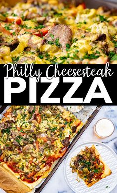 Easy Dinner Recipes, Easy Meals, Delicious Recipes, Philly Cheese Steak Pizza, Mushroom Pizza Recipes, Peppers Pizza, Sandwich Ingredients, Canal E, Cheesesteak