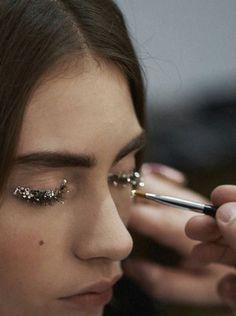 Jeweled #eyelashes #glitter #silver