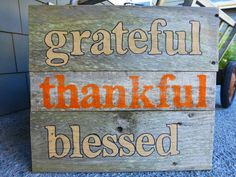 wood sign grateful thankful blessed by VintageLoveCompany on Etsy