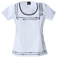 Baby Phat Round Neck Top in White Round Neck Top  Fabric: Brushed Cotton/Poly Poplin $26.99 #scrubs #nurses #doctors #medicaloutlet #babyphat Baby Phat Scrubs, Cute Scrubs, Nursing Assistant, Medical Scrubs, Scrub Tops, Athletic Tank Tops, Nurse Uniforms, Mens Tops, Cotton