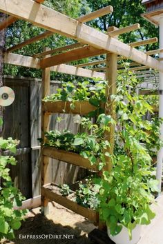 If you're adding an arbor or sunshade, why not add some built-in planters for strawberries or flowers? It looks great and adds vertical growing space to your garden.