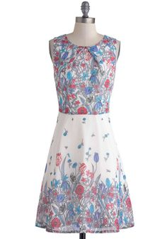 Tracing Your Dreams Dress - White, Red, Blue, Grey, Floral, Daytime Party, A-line, Sleeveless, Scoop, Wedding, Vintage Inspired, Mid-length