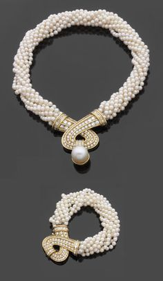 Rosamaria G Frangini | High Pearl Jewellery | MM&Co |  Pearl and Yellow Gold Necklace and Bracelet| Fashion Jewellery Modern  | Rosamaria G Frangini