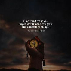 """Time won't make you forget, it will make you grow and understand things."""