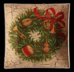 Plato de pan de cristal navidad craquelado de Patrise por DaWanda.com