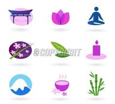 Wellness, relaxation and yoga icon set.