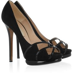 Nicholas Kirkwood Peep-toe suede and patent-leather pumps ($358) ❤ liked on Polyvore