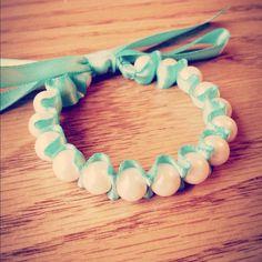 My DIY Ribbon Pearl Bracelet  #fashion #style #jewlery #DIY #Mint #Hipster #Crafts #braids #handmade #vintage #bracelet #ribbon #instagram #filters #photography #art #bow