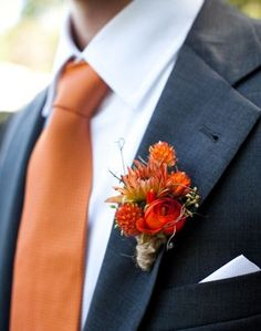 Autumn Inspired Boutonniere Purple and Orange wedding colors? Not a bad idea! Fall Wedding Flowers, Fall Wedding Colors, Wedding Bouquets, Autumn Wedding Ideas, Wedding Gowns, Autumn Weddings, Corsage Wedding, Fall Flowers, Wedding Themes