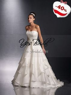 A-line Strapless Sweep Train Satin Organza Wedding Dress - i like the light bottom but less poofy