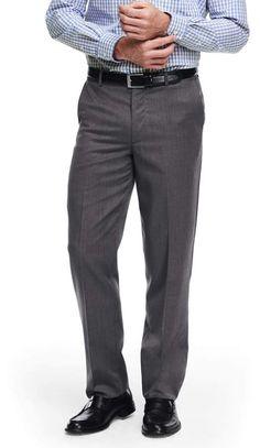 Lands' End Men's Big and Tall Comfort Waist Wool Gabardine Trousers-True Black Tall Pants, Dress Trousers, Dressy Dresses, Mens Big And Tall, Lands End, Thighs, Wool, Shopping, Black