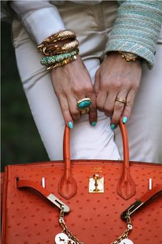 """Love the bangles and bag, gonna have to start sing """"Santa baby"""""""