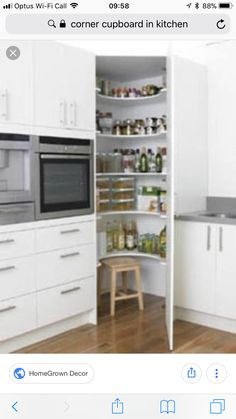 Creative And Inexpensive Tricks: U Shaped Kitchen Remodel Butcher Blocks kitchen remodel traditional granite.New Kitchen Remodel Ideas kitchen remodel countertops diy wood.New Kitchen Remodel Ideas. Corner Pantry Cabinet, Kitchen Corner Cupboard, New Kitchen, Kitchen Storage, Cabinet Storage, Kitchen Small, Pantry Cupboard, Cupboard Ideas, Corner Storage