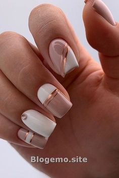 Wedding Nails 30 Cute Nail Design Ideas For Stylish Brides ❤ nail design pink white pink minimalist with golden stripes and rhinestones lyasha_nevskaya Square Nail Designs, Pink Nail Designs, Pretty Nail Designs, Short Nail Designs, Line Nail Art, Short Square Nails, Nails Short, Romantic Nails, Lines On Nails