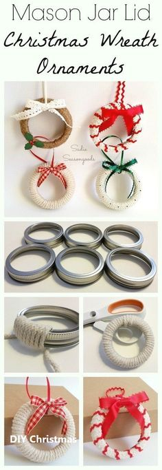Mason jar lids or bands from Ball canning jars are ideal for upcycling into rustic Christmas ornaments that look like little Christmas wreaths! Diy Christmas Decorations, Rustic Christmas Ornaments, Christmas Crafts To Sell, Christmas Craft Projects, Craft Projects For Kids, Holiday Crafts, Christmas Diy, Christmas Wreaths, Diy Ornaments