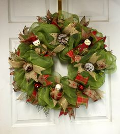 Country Christmas Wreath,  Country mesh Wreath, Rustic Christmas Wreath, Cottage Decor by LisasLaurels on Etsy