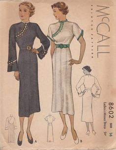 McCall 8602 | 1936 Ladies' & Misses' Dress