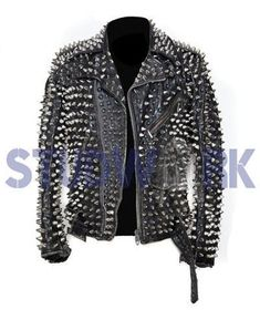 New Women Cat Kitten Heavy Metal Golden Studded Star Patches Cow Leather Jacket