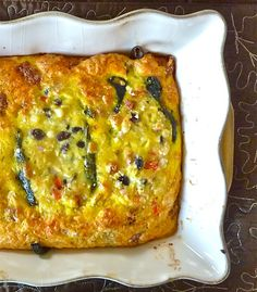 Chiles Rellenos Frittata Style Recipe Breakfast and Brunch, Main Dishes with purple onion, red wine vinegar, poblano chiles, ear of corn, black beans, red pepper, cotija, manchego cheese, large eggs, sausages, all-purpose flour, baking powder, salt, black pepper, cheese